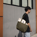 """""""ZINC - TWO TOTE TONE""""  Category: Tote Bag Materials: Canvas Size: 6.5""""W x 16.5""""L x 14.5""""H Colors: เบจ - เขียว  Beige-Olive  Compartments: + Inner Pockets: 1 Normal Pocket, 1 Small Zip Pocket  Capacity: + Mobile Phone + Wallet + Small Umbrella + Books / Notebooks + Cosmetics + Stationary  HANDMADE IN BKK, THAILAND * Please note that due to lighting effect and computer color, the actual colors might be slightly different from the picture.*  #กระเป๋า #กระเป๋าผ้า #กระเป๋าสะพาย"""