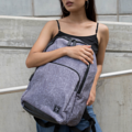 """ZINC - N Backpack""  Category: Backpack Materials: Polyester Size: 5""W x 11.5""L x 16.5""H Color: Dark Grey - Line (สีเทาเข้ม)  Compartments: + Outer Pockets: 1 Pocket at the front + Inner Pockets: 1 Normal Pocket, 1  Laptop Pocket, 2 Small Pockets, 1 Hidden Pocket  Capacity: + Mobile Phone + Wallet + Small Umbrella + Laptop with maximum size 14"" + Ipad + Books / Notebooks + Cosmetics + Stationary + Clothes  HANDMADE IN BKK, THAILAND * Please note that due to lighting effect and computer color, the actual color might be slightly different from the picture. *  #กระเป๋า #กระเป๋าเป้ #สีเทา #zinc #zincbag"