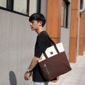 """ZINC - Two Tote Tone""  Category: Tote Bag Materials: Canvas Size: 6.5""W x 16.5""L x 14.5""H Color: Beige - Brown (สีเบจ - สีน้ำตาล)  Compartments: + Inner Pockets: 1 Normal Pocket, 1 Small Zip Pocket  Capacity: + Mobile Phone + Wallet + Small Umbrella + Books / Notebooks + Cosmetics + Stationary  HANDMADE IN BKK, THAILAND * Please note that due to lighting effect and computer color, the actual colors might be slightly different from the picture.*  #แคนวาส #กระเป๋า #กระเป๋าผ้า #กระเป๋าสะพาย #สีน้ำตาล #zinc #zincbag"