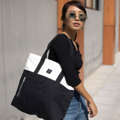 """""""ZINC - TWO TOTE TONE""""  Category: Tote Bag Materials: Canvas Size: 6.5""""W x 16.5""""L x 14.5""""H Colors: ขาว - ดำ White-Black  Compartments: + Inner Pockets: 1 Normal Pocket, 1 Small Zip Pocket  Capacity: + Mobile Phone + Wallet + Small Umbrella + Books / Notebooks + Cosmetics + Stationary  HANDMADE IN BKK, THAILAND * Please note that due to lighting effect and computer color, the actual colors might be slightly different from the picture.*  #กระเป๋า #กระเป๋าผ้า #กระเป๋าสะพาย"""