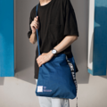 """""""ZINC - Definition""""  Category: Crossbody & Tote Bag Materials: Cotton Size: 2""""W x 13""""L x 14""""H Colors: กรม Navy  Compartments: + Inner Pockets: 1 Normal Pocket, 1 Zip Pocket  Capacity: + Mobile Phone + Power Bank + Ipad / Tablets + Wallet + Small Umbrella + Books + Cosmetics + Stationary  HANDMADE IN BKK, THAILAND * Please note that due to lighting effect and computer color, the actual colors might be slightly different from the picture.*  #กระเป๋า #กระเป๋าผ้า #กระเป๋าสะพาย"""