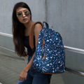 """ZINC - N Backpack""  Category: Backpack Materials: Polyester Size: 5""W x 11.5""L x 16.5""H Color: Blue - Marble (สีน้ำเงิน)  Compartments: + Outer Pockets: 1 Pocket at the front + Inner Pockets: 1 Normal Pocket, 1  Laptop Pocket, 2 Small Pockets, 1 Hidden Pocket  Capacity: + Mobile Phone + Wallet + Small Umbrella + Laptop with maximum size 13"" + Ipad + Books / Notebooks + Cosmetics + Stationary + Clothes  HANDMADE IN BKK, THAILAND * Please note that due to lighting effect and computer color, the actual color might be slightly different from the picture. *  #กระเป๋า #กระเป๋าเป้ #สีน้ำเงิน # zinc #zincbag"