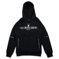 "TREZ WORLDWIDE LOGO SILVER BIKER HOODIE : Black Russian Cotton Logo Biker Hoodie from Trez featuring a Round Neck, A Hood with Drawstring Tie Fastenings, Silver-Tone Hardware, An Embroidered Designer Logo Printed in Metallic Silver-Tone to The Chest, Front Zipped Pockets, A Quilted Effect, Side Zip Details and A Ribbed Hem and Cuffs.  Size S : width 40""/length 28""  Size M : width 44""/length 29""  Size L : width 48""/length 30"" Color : Black ดำ  #เสื้อกันหนาว #เสื้อแขนยาว"