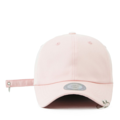 """This baseball cap features a basic plain cap with 2 metal ring at visor, a stitched flipper at wearer's back side. Interior includes printed taping and a moisture absorbing sweatband. The six panel construction features breathable eyelets with a curved visor and button at top. Open back has an adjustable embroidered long strap with metal ring.   - Style: Curved visor baseball cap - Material: Made of 100% 14""""Twill - Color: Pink - Size: 56.5~58.5 cm Adult free (Strap adjustable) - Feature: Flipper two rings ballcap - Country of manufacture: Made in VIETNAM - Have a closure behind to increase/decrease size.  Notes: Due to the light and screen setting difference, the item's color may be slightly different from the pictures. Please allow slight dimension difference due to different manual measurement."""