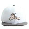 """This Snapback cap features an embroidered FINGER at front, a stitched flipper at wearer's back side. Interior includes printed taping and a moisture absorbing sweatband. The six panel construction features breathable eyelets with a flatted  visor and button at top. Open back has an adjustable snapback.   - Style: Flat visor snapback cap - Material: Made of Acrylic wool - Color: White.Black - Size: 56.5~58.5 cm Adult free (Snap adjustable) - Feature: Flipper embroidered FINGER snapback - Country of manufacture: Made in VIETNAM - Have a closure behind to increase/decrease size.  Notes: Due to the light and screen setting difference, the item's color may be slightly different from the pictures. Please allow slight dimension difference due to different manual measurement."""