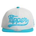 """This Snapback cap features a 3D embroidered FLIPPER logo at front, a stitched flipper at wearer's back side. Interior includes printed taping and a moisture absorbing sweatband. The six panel construction features breathable eyelets with a flatted  visor and button at top. Open back has an adjustable snapback.   - Style: Flat visor snapback cap - Material: Made of Acrylic wool - Color: Beige.Aqua - Size: 56.5~58.5 cm Adult free (Snap adjustable) - Feature: Flipper 3d embroidered FLIPPER logo snapback - Country of manufacture: Made in VIETNAM - Have a closure behind to increase/decrease size.  Notes: Due to the light and screen setting difference, the item's color may be slightly different from the pictures. Please allow slight dimension difference due to different manual measurement."""