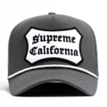 """This D Frame cap with plastic snap behind features a embroidered """"SUPREME CALIFORNIA"""" patch at front and 3D rubber """"CHRISTOPHER"""" at wearer's back side. Interior includes printed taping and a moisture absorbing sweatband. The fine panel construction features breathable eyelets with a curved visor; twisted rope between crown and visor; and button at top. Open back has an adjustable snapback.   - Style: Curved visor baseball cap - Material: Made of 100% COTTON - Color: Dark Grey - Size: 56.5~58.5 cm Adult free (Snap adjustable) - Feature: NONAME California Patch cap, D TYPE - Country of manufacture: Made in VIETNAM - Have a closure behind to increase/decrease size.  Notes: Due to the light and screen setting difference, the item's color may be slightly different from the pictures. Please allow slight dimension difference due to different manual measurement."""