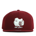 """This Snapback cap features a rubber BEERHAND piece at front, a stitched flipper at wearer's back side. Interior includes printed taping and a moisture absorbing sweatband. The six panel construction features breathable eyelets with a flatted  visor and button at top. Open back has an adjustable snapback.   - Style: Flat visor snapback cap - Material: Made of Acrylic wool - Color: Wine - Size: 56.5~58.5 cm Adult free (Snap adjustable) - Feature: Flipper rubber BEERHAND snapback - Country of manufacture: Made in VIETNAM - Have a closure behind to increase/decrease size.  Notes: Due to the light and screen setting difference, the item's color may be slightly different from the pictures. Please allow slight dimension difference due to different manual measurement."""