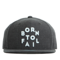 """This Snapback cap features a 3D embroidered """"Born To Fail"""" letter at front, a stitched flipper at wearer's back side. Interior includes printed taping and a moisture absorbing sweatband. The six panel construction features breathable eyelets with a flatted  visor and button at top. Open back has an adjustable snapback.   - Style: Flat visor snapback cap - Material: Made of Acrylic wool - Color: Charcoal - Size: 56.5~58.5 cm Adult free (Snap adjustable) - Feature: Flipper BornToFail snapback - Country of manufacture: Made in VIETNAM - Have a closure behind to increase/decrease size.  Notes: Due to the light and screen setting difference, the item's color may be slightly different from the pictures. Please allow slight dimension difference due to different manual measurement."""