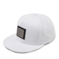 """This Snapback cap features with a PREMIER metal plate at front. Interior includes printed taping and a moisture absorbing sweatband. The five panel construction features and covered whole crown by mesh fabric, a flatted visor and button at top. Open back has an adjustable snapback.   - Style: Flatted visor snapback - Material: Made of 50% Cotton, 50% Polyester - Color: White
