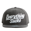 """This Snapback cap features a 3D embroidered EVERYTHING*UCKS letter at front, a stitched flipper at wearer's back side. Interior includes printed taping and a moisture absorbing sweatband. The six panel construction features breathable eyelets with a flatted  visor and button at top. Open back has an adjustable snapback.   - Style: Flat visor snapback cap - Material: Made of Acrylic wool - Color: Dark Grey - Size: 56.5~58.5 cm Adult free (Snap adjustable) - Feature: Flipper 3D embroidered EVERYTHING*UCKS snapback - Country of manufacture: Made in VIETNAM - Have a closure behind to increase/decrease size.  Notes: Due to the light and screen setting difference, the item's color may be slightly different from the pictures. Please allow slight dimension difference due to different manual measurement."""