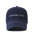 """""""This washing baseball cap features a 2D embroidered PREMIER&FLIPPER letter at front, a stitched flipper at wearer's back side. Interior includes printed taping and a moisture absorbing sweatband. The six panel construction features breathable eyelets with a curved visor and button at top. Open back has an adjustable strapback.   - Style: Curved visor baseball cap - Material: Made of 100% 14""""""""Twill - Color: Navy - Size: 56.5~58.5 cm Adult free (Strap adjustable) - Feature: Flipper Washing PREMIER&FLIPPER ballcap - Country of manufacture: Made in VIETNAM - Have a closure behind to increase/decrease size. Navy  Notes: Due to the light and screen setting difference, the item's color may be slightly different from the pictures. Please allow slight dimension difference due to different manual measurement."""""""