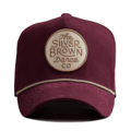 """This D Frame cap with plastic snap behind features a felt embroidered """"The Silver Brown Dance co"""" patch at front and 3D rubber """"CHRISTOPHER"""" at wearer's back side. Interior includes printed taping and a moisture absorbing sweatband. The fine panel construction features breathable eyelets with a curved visor; twisted rope between crown and visor; and button at top. Open back has an adjustable snapback.   - Style: Curved visor baseball cap - Material: Made of 97% ORGANIC COTTON 3% SPANDEX - Color: Wine - Size: 56.5~58.5 cm Adult free (Snap adjustable) - Feature: NONAME Brown Circle cap, D TYPE - Country of manufacture: Made in VIETNAM - Have a closure behind to increase/decrease size.  Notes: Due to the light and screen setting difference, the item's color may be slightly different from the pictures. Please allow slight dimension difference due to different manual measurement."""
