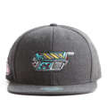 """This Snapback cap features an embroidered GHOST TRAP machine at front, a stitched flipper at wearer's back side. Interior includes printed taping and a moisture absorbing sweatband. The six panel construction features breathable eyelets with a flatted  visor and button at top. Open back has an adjustable snapback.   - Style: Flat visor snapback cap - Material: Made of Acrylic wool - Color: Dark Grey - Size: 56.5~58.5 cm Adult free (Snap adjustable) - Feature: Flipper embroidered GHOST TRAP machine snapback - Country of manufacture: Made in VIETNAM - Have a closure behind to increase/decrease size.  Notes: Due to the light and screen setting difference, the item's color may be slightly different from the pictures. Please allow slight dimension difference due to different manual measurement."""