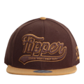"""""""This Snapback cap features a 3D embroidered FLIPPER logo at front, a stitched flipper at wearer's back side. Interior includes printed taping and a moisture absorbing sweatband. The six panel construction features breathable eyelets with a flatted  visor and button at top. Open back has an adjustable snapback.   - Style: Flat visor snapback cap - Material: Made of Acrylic wool - Color: Brown - Size: 56.5~58.5 cm Adult free (Snap adjustable) - Feature: Flipper 3d embroidered FLIPPER logo snapback - Country of manufacture: Made in VIETNAM - Have a closure behind to increase/decrease size.  Notes: Due to the light and screen setting difference, the item's color may be slightly different from the pictures. Please allow slight dimension difference due to different manual measurement."""""""