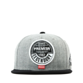 """""""This Snapback cap features with a round leather embroidery patch and thick thread border around it at front. Interior includes printed taping and a moisture absorbing sweatband. The six panel construction features breathable eyelets with a flatted visor and button at top. Open back has an adjustable snapback.   - Style: Flatted visor snapback - Material: Made of  80% Acrylic, 20% Wool, Woven - Color: Gray Black Visor - Size: 56.5~58.5 cm Adult free (Snap adjustable) - Feature: PREMIER Round Leather Patch snapback. - Country of manufacture: Made in VIETNAM - Have a closure behind to increase/decrease size.  Notes: Due to the light and screen setting difference, the item's color may be slightly different from the pictures. Please allow slight dimension difference due to different manual measurement."""""""