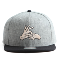 """This Snapback cap features an embroidered FINGER at front, a stitched flipper at wearer's back side. Interior includes printed taping and a moisture absorbing sweatband. The six panel construction features breathable eyelets with a flatted  visor and button at top. Open back has an adjustable snapback.   - Style: Flat visor snapback cap - Material: Made of Acrylic wool - Color: Grey.Black - Size: 56.5~58.5 cm Adult free (Snap adjustable) - Feature: Flipper embroidered FINGER snapback - Country of manufacture: Made in VIETNAM - Have a closure behind to increase/decrease size.  Notes: Due to the light and screen setting difference, the item's color may be slightly different from the pictures. Please allow slight dimension difference due to different manual measurement."""