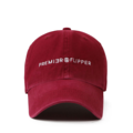 """""""This washing baseball cap features a 2D embroidered PREMIER&FLIPPER letter at front, a stitched flipper at wearer's back side. Interior includes printed taping and a moisture absorbing sweatband. The six panel construction features breathable eyelets with a curved visor and button at top. Open back has an adjustable strapback.   - Style: Curved visor baseball cap - Material: Made of 100% 14""""""""Twill - Color: Wine - Size: 56.5~58.5 cm Adult free (Strap adjustable) - Feature: Flipper Washing PREMIER&FLIPPER ballcap - Country of manufacture: Made in VIETNAM - Have a closure behind to increase/decrease size. Wine  Notes: Due to the light and screen setting difference, the item's color may be slightly different from the pictures. Please allow slight dimension difference due to different manual measurement."""""""