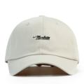 """""""This soft baseball cap features an embroidered underlined """"""""Marlette"""""""" letter at front and an """"""""XIIAM"""""""" letter at wearer's back side. Interior includes printed taping and a moisture absorbing sweatband. The six panel construction features breathable eyelets with a curved visor and button at top. Open back has an adjustable strapback.   - Style: Curved visor strapback - Material: Made of 100% Cotton - Color: Putty - Size: 56.5~58.5 cm Adult free (Strap adjustable) - Feature: NONAME Marlette ballcap. - Country of manufacture: Made in VIETNAM - Have a closure behind to increase/decrease size.  Notes: Due to the light and screen setting difference, the item's color may be slightly different from the pictures. Please allow slight dimension difference due to different manual measurement."""""""