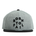 """This Snapback cap features a 3D embroidered """"Born To Fail"""" letter at front, a stitched flipper at wearer's back side. Interior includes printed taping and a moisture absorbing sweatband. The six panel construction features breathable eyelets with a flatted  visor and button at top. Open back has an adjustable snapback.   - Style: Flat visor snapback cap - Material: Made of Acrylic wool - Color: Grey.Black - Size: 56.5~58.5 cm Adult free (Snap adjustable) - Feature: Flipper BornToFail snapback - Country of manufacture: Made in VIETNAM - Have a closure behind to increase/decrease size.  Notes: Due to the light and screen setting difference, the item's color may be slightly different from the pictures. Please allow slight dimension difference due to different manual measurement."""