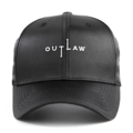 """""""This Baseball cap features an embroidered OUTLAW at front, a stitched flipper at wearer's back side. Interior includes printed taping and a moisture absorbing sweatband. The six panel construction features breathable eyelets with a curved visor and button at top. Open back has an adjustable strapback.   - Style: Curved visor baseball cap - Material: Made of 100% Polyester, SATIN - Color: Black - Size: 56.5~58.5 cm Adult free (Strap adjustable) - Feature: Flipper embroidered THUGLIFE ballcap with satin fabric. - Country of manufacture: Made in VIETNAM - Have a closure behind to increase/decrease size.  Notes: Due to the light and screen setting difference, the item's color may be slightly different from the pictures. Please allow slight dimension difference due to different manual measurement."""""""
