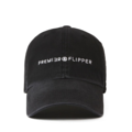 """""""This washing baseball cap features a 2D embroidered PREMIER&FLIPPER letter at front, a stitched flipper at wearer's back side. Interior includes printed taping and a moisture absorbing sweatband. The six panel construction features breathable eyelets with a curved visor and button at top. Open back has an adjustable strapback.   - Style: Curved visor baseball cap - Material: Made of 100% 14""""""""Twill - Color: Black - Size: 56.5~58.5 cm Adult free (Strap adjustable) - Feature: Flipper Washing PREMIER&FLIPPER ballcap - Country of manufacture: Made in VIETNAM - Have a closure behind to increase/decrease size. Black  Notes: Due to the light and screen setting difference, the item's color may be slightly different from the pictures. Please allow slight dimension difference due to different manual measurement."""""""
