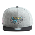 """This Snapback cap features an embroidered GHOST TRAP machine at front, a stitched flipper at wearer's back side. Interior includes printed taping and a moisture absorbing sweatband. The six panel construction features breathable eyelets with a flatted  visor and button at top. Open back has an adjustable snapback.   - Style: Flat visor snapback cap - Material: Made of Acrylic wool - Color: Grey.Black - Size: 56.5~58.5 cm Adult free (Snap adjustable) - Feature: Flipper embroidered GHOST TRAP machine snapback - Country of manufacture: Made in VIETNAM - Have a closure behind to increase/decrease size.  Notes: Due to the light and screen setting difference, the item's color may be slightly different from the pictures. Please allow slight dimension difference due to different manual measurement."""