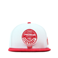 """This Snapback cap features with a round leather embroidery patch and thick thread border around it at front. Interior includes printed taping and a moisture absorbing sweatband. The six panel construction features breathable eyelets with a flatted visor and button at top. Open back has an adjustable snapback.   - Style: Flatted visor snapback - Material: Made of  80% Acrylic, 20% Wool, Woven - Color: White