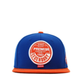 """This Snapback cap features with a round leather embroidery patch and thick thread border around it at front. Interior includes printed taping and a moisture absorbing sweatband. The six panel construction features breathable eyelets with a flatted visor and button at top. Open back has an adjustable snapback.   - Style: Flatted visor snapback - Material: Made of  80% Acrylic, 20% Wool, Woven - Color: Royal