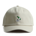 """This Strapback cap features an embroidered soju at front, a stitched flipper at wearer's back side. Interior includes printed taping and a moisture absorbing sweatband. The six panel construction features breathable eyelets with a curved visor and button at top. Open back has an adjustable strapback.   - Style: Curved visor strapback ballcap - Material: Made of 100% Cotton - Color: Beige - Size: 56.5~58.5 cm Adult free (Strap adjustable) - Feature: Flipper soju ballcap - Country of manufacture: Made in VIETNAM - Have a closure behind to increase/decrease size.  Notes: Due to the light and screen setting difference, the item's color may be slightly different from the pictures. Please allow slight dimension difference due to different manual measurement."""