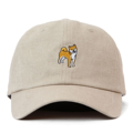 """This Strapback cap features an cute embroidered standing HACHIKO at front, a stitched flipper at wearer's back side. Interior includes printed taping and a moisture absorbing sweatband. The six panel construction features breathable eyelets with a curved visor and button at top. Open back has an adjustable strapback.   - Style: Curved visor strapback ballcap - Material: Made of 100% Cotton - Color: Beige - Size: 56.5~58.5 cm Adult free (Strap adjustable) - Feature: Flipper SHIBA INU ballcap - Country of manufacture: Made in VIETNAM - Have a closure behind to increase/decrease size.  Notes: Due to the light and screen setting difference, the item's color may be slightly different from the pictures. Please allow slight dimension difference due to different manual measurement."""