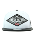 """This Snapback cap features with an rhombus leather embroidery patch at front. Interior includes printed taping and a moisture absorbing sweatband. The six panel construction features breathable eyelets with a PU flatted visor and button at top. Open back has an adjustable snapback.   - Style: Flatted visor snapback - Material: Made of  80% Acrylic, 20% Wool, Woven - Color: White - Size: 56.5~58.5 cm Adult free (Snap adjustable) - Feature: PREMIER Rhombus Leather Patch snapback. - Country of manufacture: Made in VIETNAM - Have a closure behind to increase/decrease size.  Notes: Due to the light and screen setting difference, the item's color may be slightly different from the pictures. Please allow slight dimension difference due to different manual measurement."""