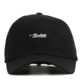 """This soft baseball cap features an embroidered underlined """"Marlette"""" letter at front and an """"XIIAM"""" letter at wearer's back side. Interior includes printed taping and a moisture absorbing sweatband. The six panel construction features breathable eyelets with a curved visor and button at top. Open back has an adjustable strapback.   - Style: Curved visor strapback - Material: Made of 100% Cotton - Color: Black - Size: 56.5~58.5 cm Adult free (Strap adjustable) - Feature: NONAME Marlette ballcap. - Country of manufacture: Made in VIETNAM - Have a closure behind to increase/decrease size.  Notes: Due to the light and screen setting difference, the item's color may be slightly different from the pictures. Please allow slight dimension difference due to different manual measurement."""