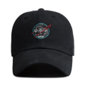 """""""This Baseball cap features an embroidered NASA logo at front, a stitched flipper at wearer's back side. Interior includes printed taping and a moisture absorbing sweatband. The six panel construction features breathable eyelets with a curved visor and button at top. Open back has an adjustable strapback.   - Style: Curved visor baseball cap - Material: Made of 100% Cotton - Color: Black - Size: 56.5~58.5 cm Adult free (Strap adjustable) - Feature: Flipper embroidered NASA logo ballcap - Country of manufacture: Made in VIETNAM - Have a closure behind to increase/decrease size.  Notes: Due to the light and screen setting difference, the item's color may be slightly different from the pictures. Please allow slight dimension difference due to different manual measurement."""""""