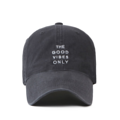"""""""This washing baseball cap features a 2D embroidered GOOD VIBES ONLY letter at front, a stitched flipper at wearer's back side. Interior includes printed taping and a moisture absorbing sweatband. The six panel construction features breathable eyelets with a curved visor and button at top. Open back has an adjustable strapback.   - Style: Curved visor baseball cap - Material: Made of 100% 14""""""""Twill - Color: Charcoal - Size: 56.5~58.5 cm Adult free (Strap adjustable) - Feature: Flipper washing Good vibe ballcap - Country of manufacture: Made in VIETNAM - Have a closure behind to increase/decrease size. Grey  Notes: Due to the light and screen setting difference, the item's color may be slightly different from the pictures. Please allow slight dimension difference due to different manual measurement."""""""