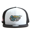 """This Snapback cap features an embroidered GHOST TRAP machine at front, a stitched flipper at wearer's back side. Interior includes printed taping and a moisture absorbing sweatband. The six panel construction features breathable eyelets with a flatted  visor and button at top. Open back has an adjustable snapback.   - Style: Flat visor snapback cap - Material: Made of Acrylic wool - Color: White.Black - Size: 56.5~58.5 cm Adult free (Snap adjustable) - Feature: Flipper embroidered GHOST TRAP machine snapback - Country of manufacture: Made in VIETNAM - Have a closure behind to increase/decrease size.  Notes: Due to the light and screen setting difference, the item's color may be slightly different from the pictures. Please allow slight dimension difference due to different manual measurement."""