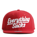 """This Snapback cap features a 3D embroidered EVERYTHING*UCKS letter at front, a stitched flipper at wearer's back side. Interior includes printed taping and a moisture absorbing sweatband. The six panel construction features breathable eyelets with a flatted  visor and button at top. Open back has an adjustable snapback.   - Style: Flat visor snapback cap - Material: Made of Acrylic wool - Color: Red - Size: 56.5~58.5 cm Adult free (Snap adjustable) - Feature: Flipper 3D embroidered EVERYTHING*UCKS snapback - Country of manufacture: Made in VIETNAM - Have a closure behind to increase/decrease size.  Notes: Due to the light and screen setting difference, the item's color may be slightly different from the pictures. Please allow slight dimension difference due to different manual measurement."""