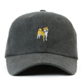 """This Strapback cap features an cute embroidered standing HACHIKO at front, a stitched flipper at wearer's back side. Interior includes printed taping and a moisture absorbing sweatband. The six panel construction features breathable eyelets with a curved visor and button at top. Open back has an adjustable strapback.   - Style: Curved visor strapback ballcap - Material: Made of 100% Cotton - Color: Black -"