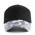 """This Baseball cap features a basic plain cap with camo visor, a stitched flipper at wearer's back side. Interior includes printed taping and a moisture absorbing sweatband. The six panel construction features breathable eyelets with a curved visor and button at top. Open back has an adjustable strapback.   - Style: Curved visor baseball cap - Material: Made of 100% Cotton - Color: Black - Size: 56.5~58.5 cm Adult free (Strap adjustable) - Feature: Flipper THUGLIFE Military ballcap. - Country of manufacture: Made in VIETNAM - Have a closure behind to increase/decrease size.  Notes: Due to the light and screen setting difference, the item's color may be slightly different from the pictures. Please allow slight dimension difference due to different manual measurement."""