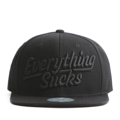 """This Snapback cap features a 3D embroidered EVERYTHING*UCKS letter at front, a stitched flipper at wearer's back side. Interior includes printed taping and a moisture absorbing sweatband. The six panel construction features breathable eyelets with a flatted  visor and button at top. Open back has an adjustable snapback.   - Style: Flat visor snapback cap - Material: Made of Acrylic wool - Color: Black - Size: 56.5~58.5 cm Adult free (Snap adjustable) - Feature: Flipper 3D embroidered EVERYTHING*UCKS snapback - Country of manufacture: Made in VIETNAM - Have a closure behind to increase/decrease size.  Notes: Due to the light and screen setting difference, the item's color may be slightly different from the pictures. Please allow slight dimension difference due to different manual measurement."""