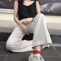 กางเกงขายาว Gang toursers : Beige กางเกงขากระบอก  ผ้าลินิน มี2ไซส์นะคะ เช็คไซส์ได้จากรูปสุดท้าย ด้านหลังเป็นสม้อค  สี : ครีม  #กางเกง #กางเกงผู้หญิง #กางเกงขายาว #กางเกงขายาวผู้หญิง #กางเกงผู้หญิงขายาว #กางเกงเอวสูง