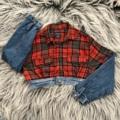 """ชื่อสินค้า : Jacket scott crop  เสื้อตัดต่อ สก๊อตvsยีนส์  ความยาว 14-16"""" รอบอก 36-38""""  #เสื้อผ้าผู้หญิง #เสื้อผู้หญิง #เสื้อแจ็คเก็ต #แจ็คเก็ต #เสื้อแจ็คเก็ตยีนส์ #เสื้อยีนส์ #แจ็คเก็ตยีนส์ #เสื้อแจ็คเก็ตแขนยาว #แจ็คเก็ตแขนยาว"""
