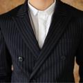 Double breasted - Pinstriped suit  color: กรม navy price : 4,990 THB  สามารถวัดตัวสั่งตัดได้ค่ะ  #grounderbkk #เสื้อสูท #เสื้อคลุม #เสื้อคลุมแขนยาว