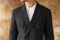 Double breasted - Pinstriped suit  color: เทา เข้ม dark grey price : 4,990 THB  #เสื้อสูท #เสื้อคลุม #เสื้อคลุมแขนยาว