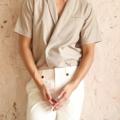 Draping button - up shirt  color: ครีม Canvas material : oxford shirt  price: 990 THB   #grounderbkk #เสื้อผ้าผู้ชาย #เสื้อผู้ชาย #เสื้อเชิ้ต #เสื้อเชิ้ตแขนสั้น
