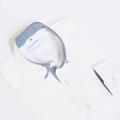 White shirt - blue stripe layer collar material : cotton oxford  color : ขาว white price : 1,290 THB  #เสื้อผ้าผู้ชาย #เสื้อผู้ชาย #เสื้อเชิ้ต #เสื้อเชิ้ตแขนยาว #เสื้อเชิ้ตผู้ชาย