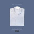 Striped mandarin collar shirt  color : ฟ้า blue  material : cotton fabric price : 890 THB  #เสื้อผ้าผู้ชาย #เสื้อผู้ชาย #เสื้อเชิ้ต #เสื้อเชิ้ตแขนยาว #เสื้อเชิ้ตผู้ชาย