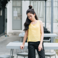 Cropped TANK-TOP - Yellow Fabric : Linen Color : เหลือง Yellow SIZE : Small / Medium  Detail : - Linen Fabric - Cropped Tank-Top style - Casual and comfortable to wear - Model Height : 160 cm.