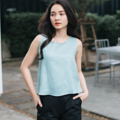 Cropped TANK-TOP - Turquoise Fabric : Linen Color : ฟ้า Turquoise SIZE : Small / Medium  Detail : - Linen Fabric - Cropped Tank-Top style - Casual and comfortable to wear - Model Height : 160 cm.  #เสื้อผ้าผู้หญิง #เสื้อผู้หญิง #เสื้อแขนกุด
