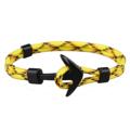 สร้อยข้อมือ (สีเหลือง) หัวสมอสีดำ   ความยาว 21 cm.  Black Anchor Bracelets Men Charm 550 Survival Rope Chain Paracord Bracelet Male Wrap Metal Sport Hooks   PS.- ส่งฟรี!